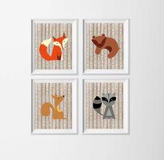 Woodland Nursery Art , Animal Wall Art , Fox Bear Forest Animal Wall Art , Tribal Boy Nursery Art , Fox Wall Decor Boy Girl , Arrow Nursery by ZeppiPrints on Etsy https://www.etsy.com/listing/398664051/woodland-nursery-art-animal-wall-art-fox