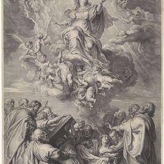 Hemelvaart van Maria met apostelen, Schelte Adamsz. Bolswert, naar Peter Paul Rubens, 1596 - 1659 - Rijksmuseum
