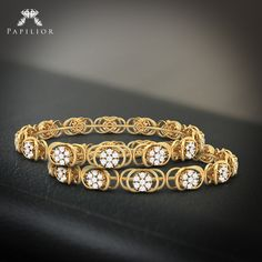 Buy Concubine Diamond Bangle at reasonable price. Buy Party Wear Diamond Bangles in Yellow Gold gms) with diamonds Ct,SI-IJ) - Easy exchange. Gold Bangles For Women, Gold Bangles Design, Gold Jewellery Design, Gold Jewelry, Diamond Bracelets, Jewelry Bracelets, Stone Jewelry, Mehendi, Party Wear