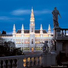 The beautiful Rathaus is the city Hall in Vienna, Austria, across the street from our hotel