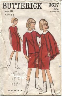 pattern Vintage Pattern, Sleeveless Front Zipper Dress or Jumper, Cowl Neck Blouse and Zippered Jacket Pattern, Bust Butterick 3617 60s Patterns, Vintage Sewing Patterns, Clothing Patterns, Dress Patterns, Collarless Jacket, Pattern Recognition, Old Dresses, Pattern Cutting, Jacket Pattern