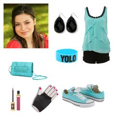 """""""miranda cosgrove outfit 5"""" by mirandacdisneylyrics ❤ liked on Polyvore featuring Lipsy, Converse, Flaska Laverne, Yves Saint Laurent and White House Black Market"""