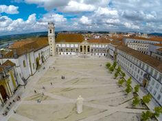 Coimbra University aerial (launch 350 balloons)