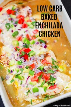 Try this easy low carb recipe, Baked Enchilada Chicken. Enjoy all the flavor of chicken enchilada bake without the carbs. Try baked enchilada chicken today! Low Carb Recipes, Meat Recipes, Mexican Food Recipes, Chicken Recipes, Healthy Recipes, Recipies, Chicken Enchiladas, Green Chili Enchiladas, Mexican Enchiladas