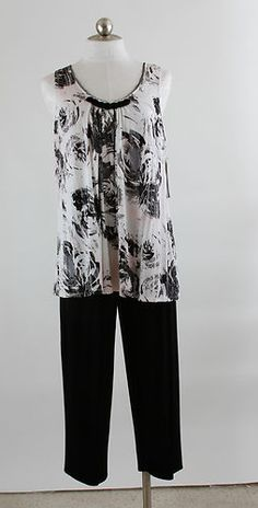 Anne Klein Women's Lounging Pajamas Black Ivory Large | eBay