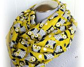 Owl Scarf, Olive Yellow and Navy Cozy and Chic Owl Infinity Scarf, Bird Loop Cowl Scarf