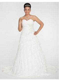 Elegant A-line Sweetheart Chapel Train Chiffon Plus Size Wedding Dress   Cd Dress -- Internet resource for bridal gowns, jewelry and accessories.   www.cddress.com    Please mention that you found them thru Jevel Wedding Planning's Pinterest Account.  Keywords: #plussizeweddinggowns #jevelweddingplanning Follow Us: www.jevelweddingplanning.com  www.facebook.com/jevelweddingplanning/