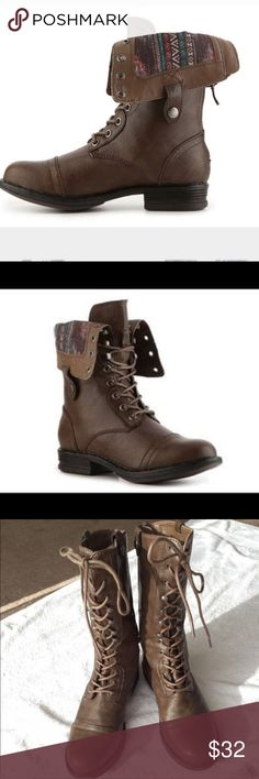 Steve Madden Brown Combat Boots Super cute. Can be worn up or down. Mine are in good condition but not new. They have crease marks but still look good! These look great in the fall with cream colored socks, leggings and a big sweater! Steve Madden Shoes Combat & Moto Boots