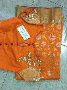 Check the blouse design Saree Blouse Neck Designs, Fancy Blouse Designs, Saree Blouse Patterns, Bridal Blouse Designs, Maggam Work Designs, Stylish Blouse Design, Collor, Work Blouse, Blouse Models