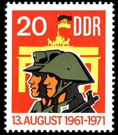 DDR stamp celebrating 10 years of the Berlin Wall, issued August 1971