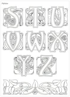 Art Nouveau Alphabet ~ This may be from Judy Balchin's' book - 3 of 3 Motifs Art Nouveau, Design Art Nouveau, Motif Art Deco, Art Nouveau Pattern, Jugendstil Design, Embroidery Alphabet, Calligraphy Letters, Illuminated Letters, Letters And Numbers