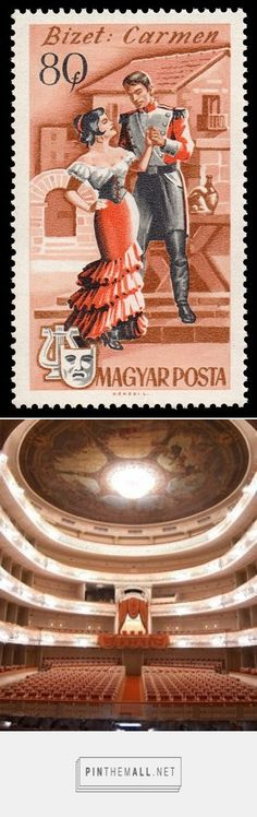 1967 Hungarian postage stamp depicting a scene from Bizet's opera, Carmen /Mikhailovsky Classical Ballet and Opera Theatre (established 1833) St. Petersburg Russia | Opera Houses and Concert Halls | - created via http://pinthemall.net