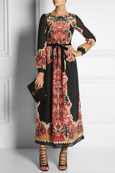 RED Valentino | Printed wool maxi dress | NET-A-PORTER.COM #style #fashioin #hijabi #hijab
