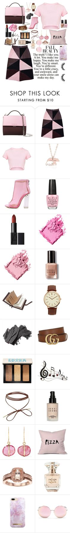 """brown and pink."" by pikamikey ❤ liked on Polyvore featuring Givenchy, Florence Bridge, WithChic, OPI, Bobbi Brown Cosmetics, BKE, Gucci, Benzara, Melissa Joy Manning and DENY Designs"