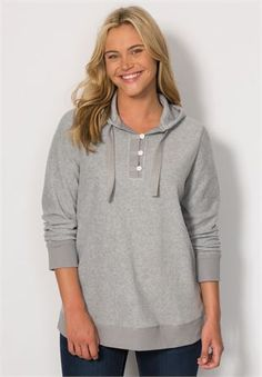 Button-front hooded sweatshirt