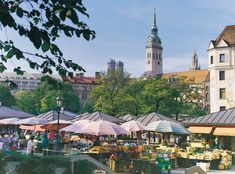 Viktualienmarkt is Munich's premier place to shop for fresh produce, dairy, bread, and Bavarian specialties.