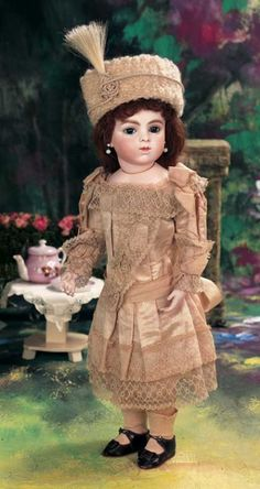 A Fine Pretending Tea: 42 Brown-Eyed Bebe by Leon Casimir Bru with Signed Bru Shoes