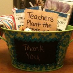 Teacher gift Teachers plant the seeds of knowledge that will grow forever! I used chalkboard scrapbook paper for the chalkboard then glued ribbon for the border