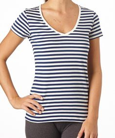 Women's Navy Stripe V-Neck Tee made with Fair Trade Certified organic cotton!  #FairTrade #organic #apparel