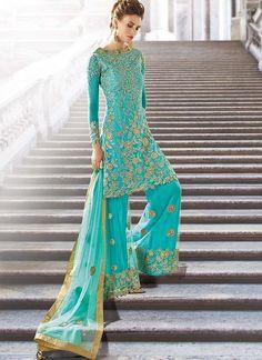 Turquoise Wedding Wear Palazzo Kameez Suit in Net