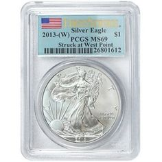 2013 W Silver American Eagle Struck at West Point MS69 FS PCGS Flag Label