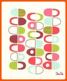 Swedish Dishcloth, Jenn Ski Mid-century Modern Retro Half Pods - Pink/Red - Improve your home (*Amazon Partner-Link)