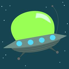 Cute Alien Space Ship Nursery Decor/art - Adorable!!!