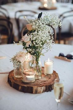 Rustic Wedding Unique Reception Ideas On A Budget Old Gles Candles And Wooden Slice Used For Centerpieces Cool