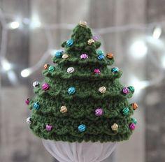 (4) Name: 'Crocheting : Christmas Tree Hat Beaded