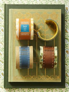 Literary-Bound Bracelets | Better Homes & Gardens. A cool slideshow of crafts that use old worn-out books as material. Time to raid the Friends' Sale leftovers...