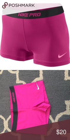 Nike Pro Pink shorts Very good condition. Only worn twice. This is a size large but I am usually an adult small( might be a child's large). They are comfortable, great for sports and workouts! Nike Shorts