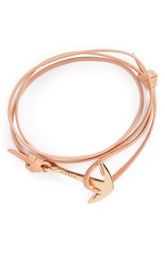 Rose Gold Anchor Leather Bracelet
