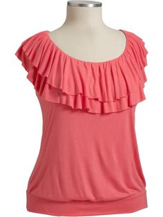 Old Navy Ruffle-Neck Jersey Top <- loving the ruffle neckline!