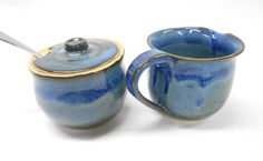 Pottery Cream and Sugar Set, Cream and Sugar with Lid, Syrup Pitcher, Gravy Boat, Lidded Sugar Dish, Wedding Gift, in Blue and Purple