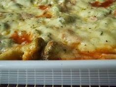 Lasanha de frango e brócolos