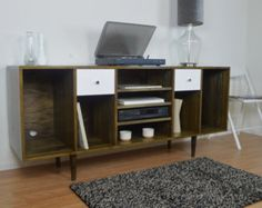 Custom Media Console with Speakers Compartments