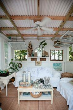Galvanized Tin Ceiling Backyard Bungalow With Corrugated Metal . Beach Cottage Style, Beach Cottage Decor, Coastal Cottage, Coastal Decor, Coastal Style, Coastal Living, Nantucket Cottage, Coastal Bedrooms, Modern Coastal