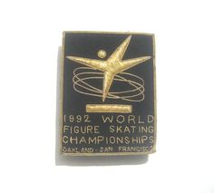 1992 World Figure Skating Championship Gold on Black Embroidered Uniform Patch 4 Point Twirling Gilt Star by BetterWythAge on Etsy