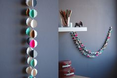 """CLOUDS """"pétilllant"""" handmade paper garland - styling and photo © Mi-avril"""