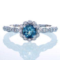 14K White Gold Diamond London Blue Topaz Floral Halo by samnsue, $990,00