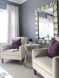 Master Bedroom Seating Area Mirror 51 New Ideas Master Room, Master Suite, Master Bedroom Chairs, Purple Master Bedroom, Mirror Bedroom, White Bedroom, Bedroom Sets, Living Room Decor, Bedroom Decor
