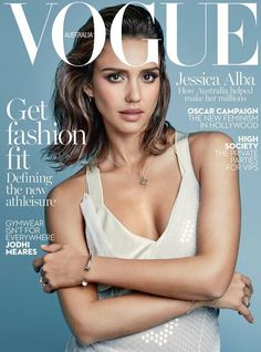 Jessica Alba wearing dress and bra on Vogue Australia Magazine February 2016 cover