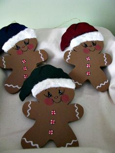 Gingerbread ornaments Christmas peppermint buttons by loisling, $4.00
