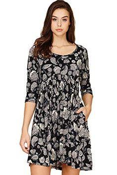 Annabelle Womens Flower Paisley Pattern Pleated Babydoll Mini Dress With Side Pockets Black XLarge D5290B >>> Amazon most trusted e-retailer #BabydollDress