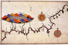 A map from Piri Reis, a 16th century Ottoman Admiral famous for his maps and charts collected in his Kitab-ı Bahriye (Book of Navigation).