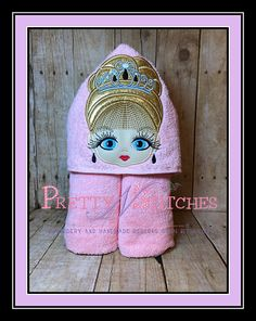 Big Eyed Beauty Princess Karen Applique Peeker Embroidery Design hoop and and Applique Embroidery Designs, Embroidery Files, Machine Embroidery, Kids Hooded Towels, Big Eyes, Crochet Hats, Stitch, Things To Sell, Princess