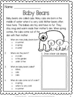 Baby Bears! Free reading comprehension passage!