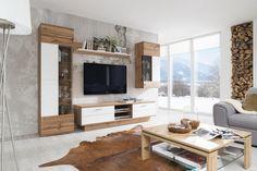Obývačka ALFONSO vo vyhotovení dub wotan/biela supermat Flat Screen, Blood Plasma, Flatscreen, Dish Display