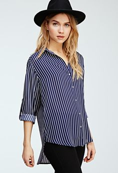 Striped Longline Collared Shirt | Forever 21 - 2000115598