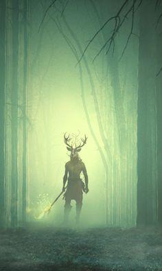 Cernunnos, titan of the forest, God of the wild hunt Dark Fantasy Art, Fantasy Kunst, Fantasy Rpg, Medieval Fantasy, Fantasy World, Dark Art, Fantasy Creatures, Mythical Creatures, Monsters Rpg